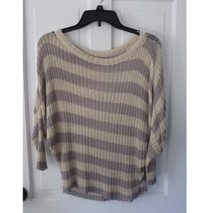 Cream and Lilac Striped Sweater